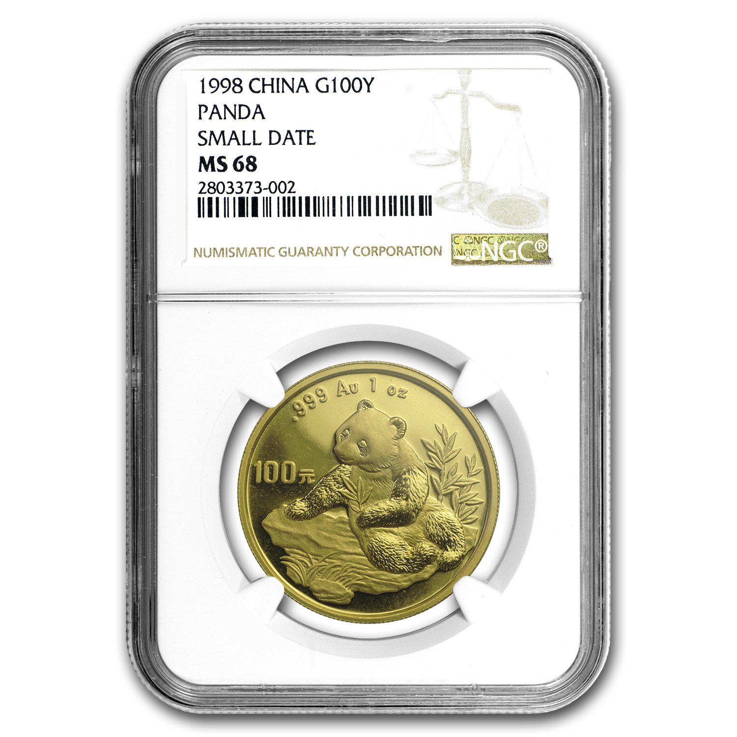 1998 China 1 oz Gold Panda Small Date MS-68 NGC
